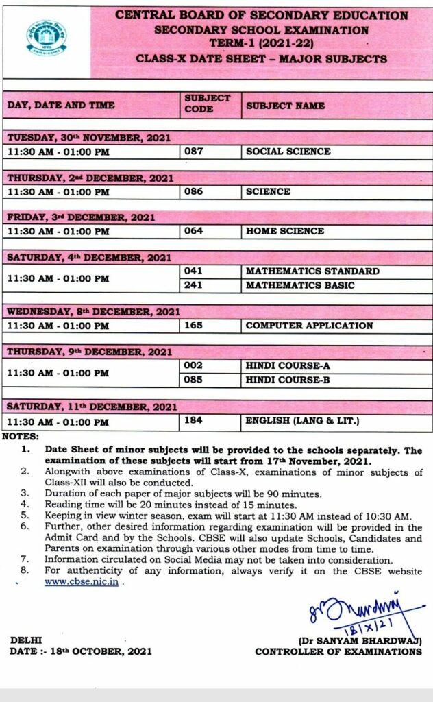 CBSE 10th Date Sheet Term 1
