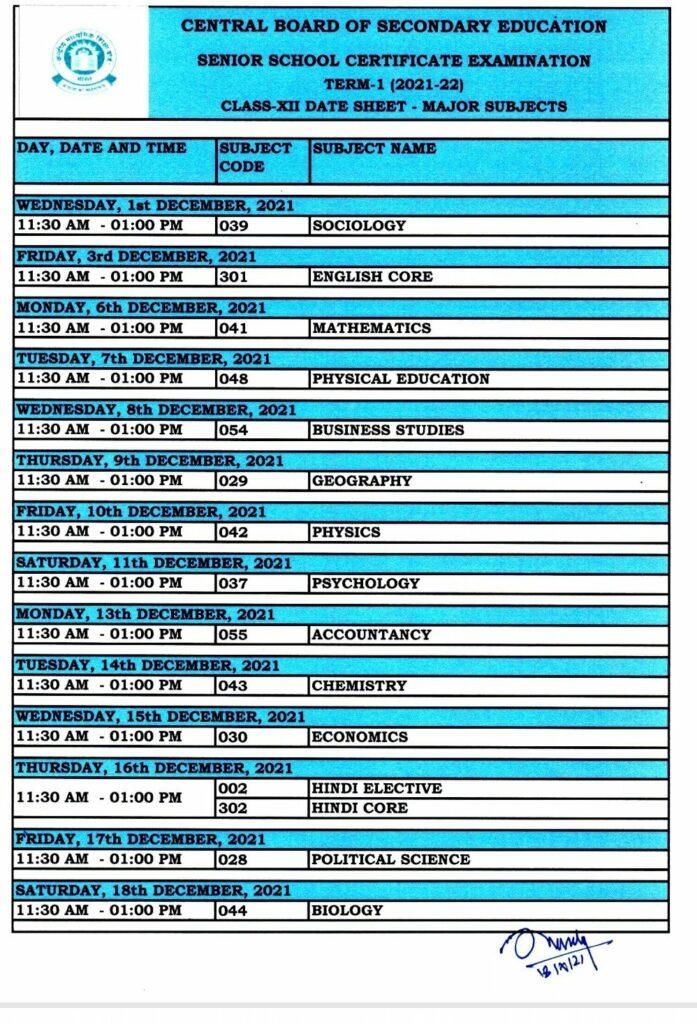 CBSE 12th Term 1 Date Sheet