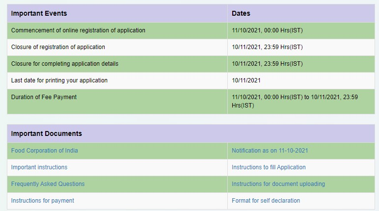 FCI Punjab Important Dates